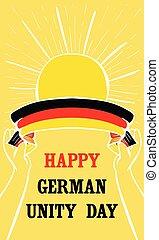 estilo, bandeira, vertical, alemão, mão, unidade, desenhado, dia, feliz