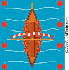 estilo, barco, isométrico, icono, viking