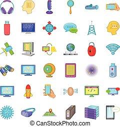 estilo, base de datos, Conjunto, iconos, almacenamiento, caricatura