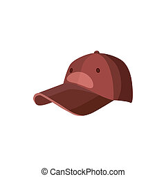 estilo, beisball, icono, sombrero, caricatura, rojo