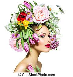 estilo, beleza, primavera, cabelo, menina, flores
