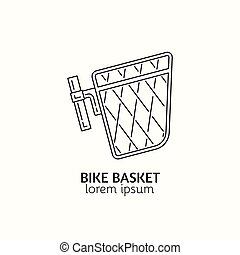 estilo, bicicleta, lineal, moderno, accesorios, logotype, ...