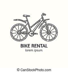 estilo, bicicleta, lineal, moderno, logotype, alquiler, ...