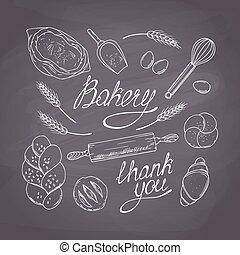 estilo, bienes, illustration., alimento, collection., mano, tiza, panadería, vector, comestibles, pizarra, plano de fondo, sketched, dibujado, objects.