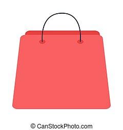 estilo, bolsa, compras, icono, plano