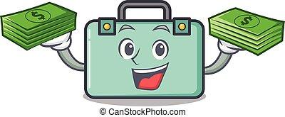 estilo, bolsa dinero, maleta, caricatura, mascota