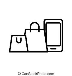 estilo, bolsas, línea, smartphone, icono, compras