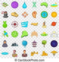 estilo, bom, ícones, jogo, mundo, caricatura