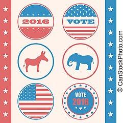 estilo, botão campanha, retro, voto, votando, ou, eleição