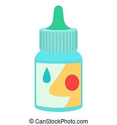 estilo, botella, gotas, icono, nasal, plano