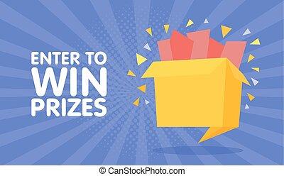 estilo, box., presente, ganhe, ilustração, vetorial, prêmios, entrar, origami, caricatura