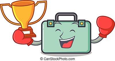 estilo, boxeo, ganador, maleta, caricatura, mascota