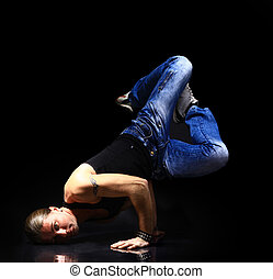 estilo, breakdance, bailarín, posar, elegante, fresco