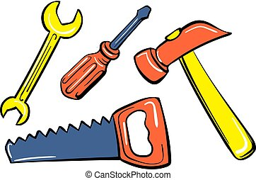 estilo, brinquedo, ferramenta, ícone, lar, caricatura