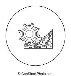 estilo, bucket-wheel, illustration., escavador, símbolo, isolado, mina, experiência., vetorial, ícone, branca, estoque, esboço