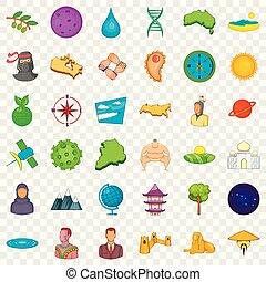 estilo, bueno, iconos, conjunto, mundo, caricatura