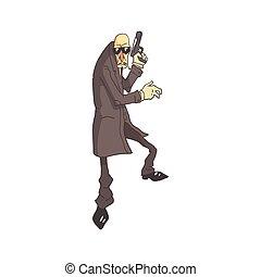 estilo, cômico, perigosa, esboçado, assassino, ilustração, profissional, criminal
