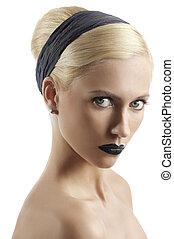 estilo cabelo, mulher, loura, câmera, jovem, contra, olhar, lábios, moda, experiência preta, retrato, branca