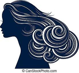 estilo, cabelo, silueta, mulher