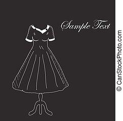 estilo, cabide, card., drawing., mão, moda, vetorial, pretas, retro, convite, vestido, fundo, illustration.