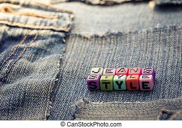 estilo, calças brim
