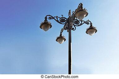estilo, calle, viejo, lámpara, agradable