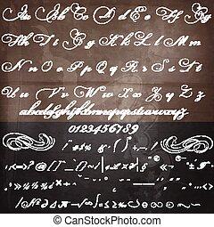 estilo, calligraphic, vindima, mão, desenhado, fonte