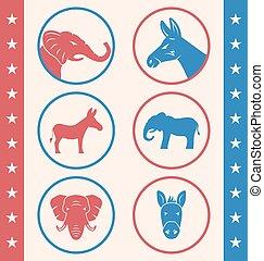estilo, campanha, vindima, botão, eleição, voto, votando, ou