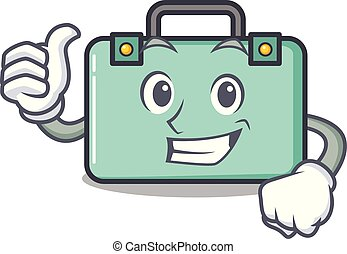 estilo, carácter, arriba, pulgares, maleta, caricatura