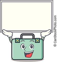 estilo, carácter, arriba, tabla, maleta, caricatura