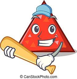 estilo, carácter, béisbol que juega, triangel, caricatura