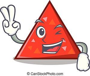 estilo, carácter, dos, dedo, triangel, caricatura