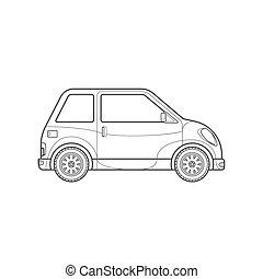 estilo, car, compacto, corporal, ilustração, esboço, ícone, cidade
