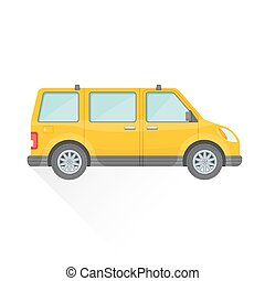 estilo, car, corporal, ilustração, ícone, vetorial, amarela, apartamento, furgão