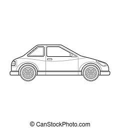 estilo, car, corporal, ilustração, esboço, ícone, cupê