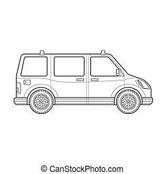 estilo, car, corporal, ilustração, esboço, ícone, furgão