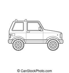 estilo, car, corporal, ilustração, esboço, ícone, suv, fora-estrada