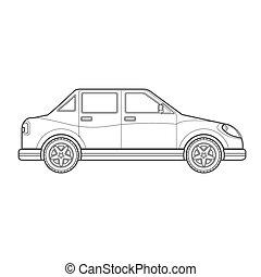 estilo, car, corporal, taverna, ilustração, esboço, ícone