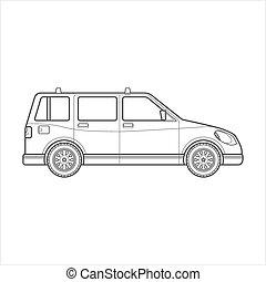 estilo, car, corporal, vagão, ilustração, esboço, ícone