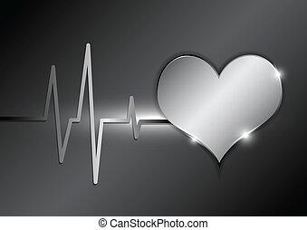 estilo, cardiografia, fundo, metálico