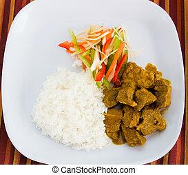 estilo, caribe, -, arroz, curry, goat