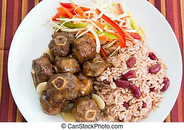 estilo, caribe, -, rabo de buey, arroz, curry
