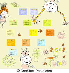 estilo, caricatura, calendário, 2012