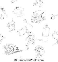 estilo, caricatura, fundo, seamless