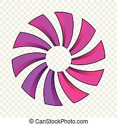 estilo, caricatura, hélice, ícone, turbina, ou