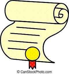 estilo, caricatura, importante, cômico, documento, livro