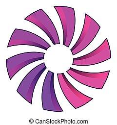 estilo, caricatura, propulsor, icono, turbina, o