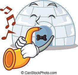 estilo, caricatura, rendimiento, trompeta, iglú, carácter