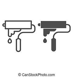 estilo, casa, brocha, concepto, móvil, plano de fondo, contorno, pintura, vector, blanco, icono, reparación, sólido, rodillo, concepto, señal, línea, tela, símbolo, design., graphics.