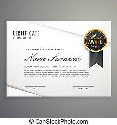 estilo, certificado, moderno, premio, aprecio, mínimo, ...